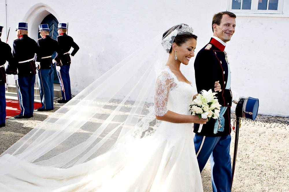 Prince Joachim of Denmark, Queen Margrethe's youngest son, and Marie Cavallier of France leave Mogeltonder Church in Sonderjutland, Denmark after their wedding, May 24, 2008