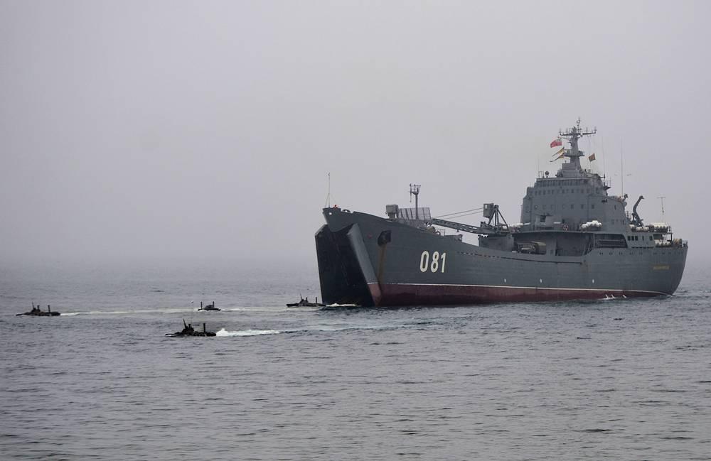 Seaborne troops landing from the Project 1171 landing ship Nikolai Vilkov