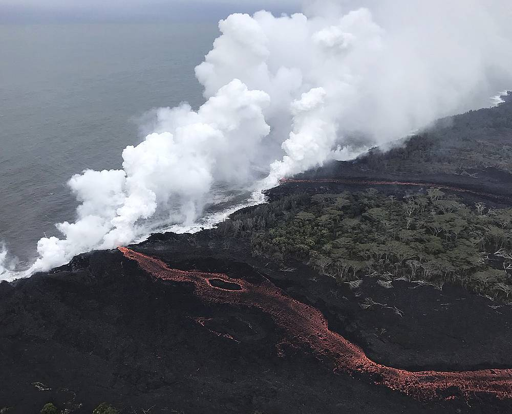Lava continues to enter the sea at two locations near Pahoa