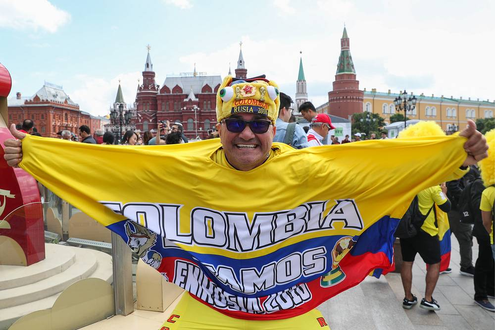 A Colombian fan on the eve of the 2018 FIFA World Cup in Manezhnaya Square