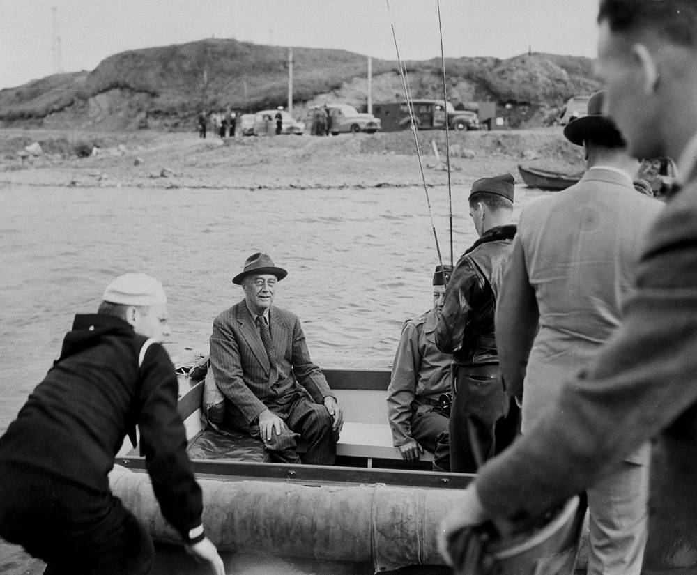 Former US president Franklin D. Roosevelt and his party embark for fishing in one of Kodiak's streams, Alaska, 1944