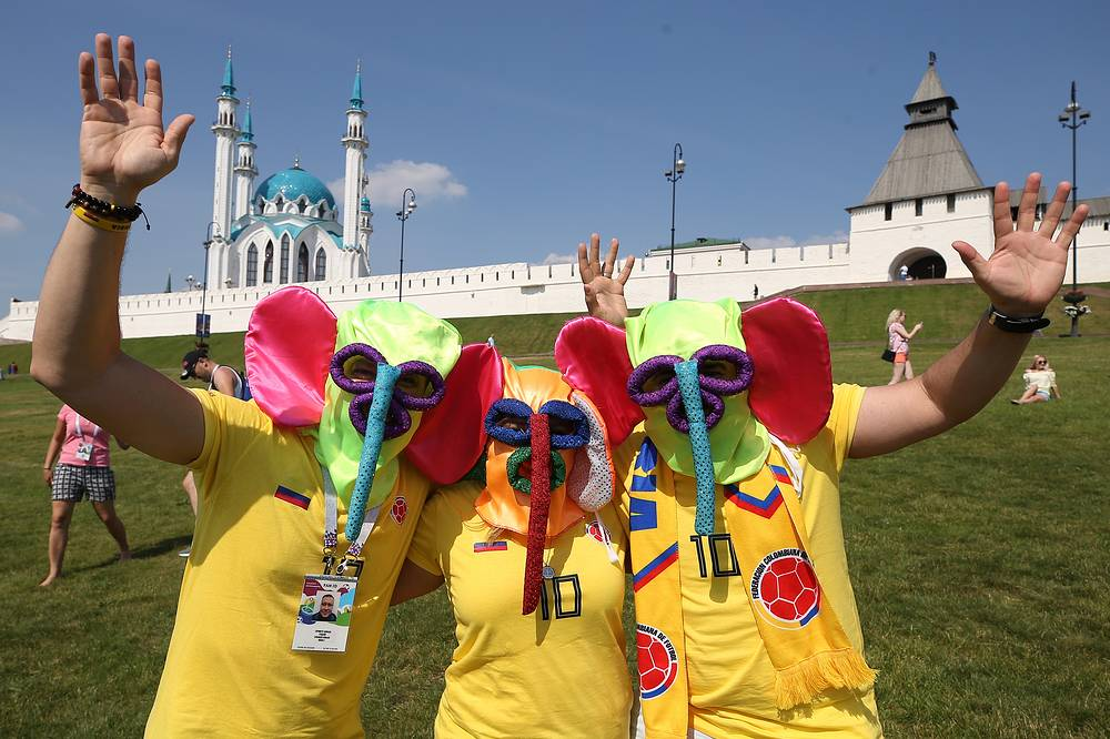 Colombia's supporters wearing masks in Kazan