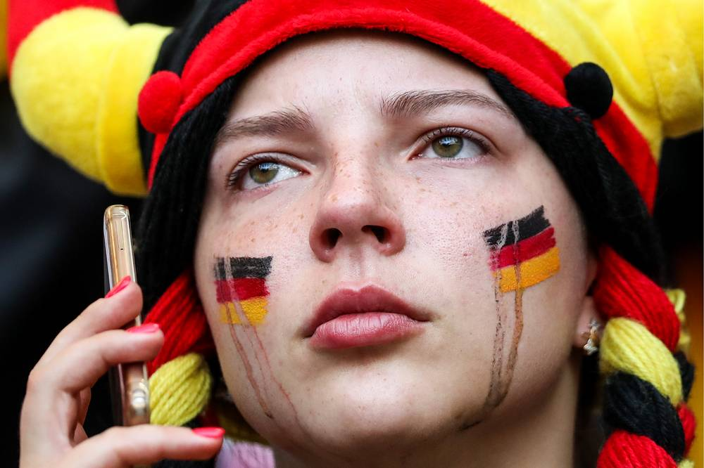 A German football fan seen after her team's 2018 FIFA World Cup Group F match against South Korea at Kazan Arena Stadium. South Korea won 2-0