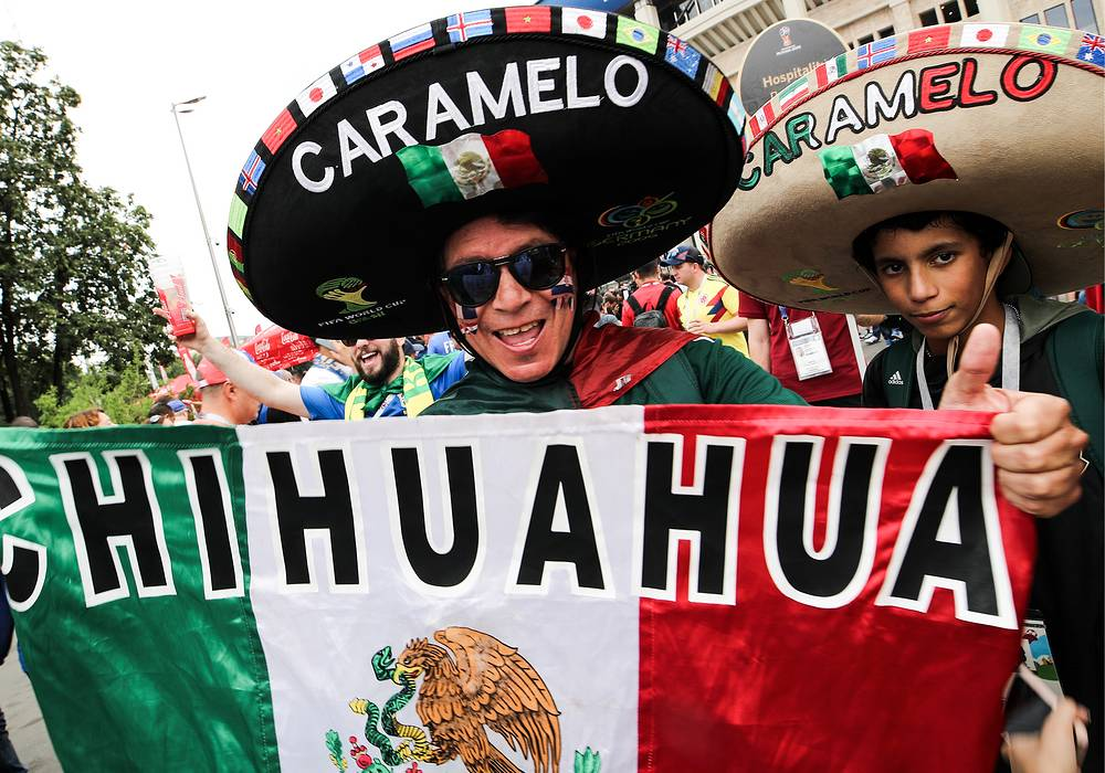 Football fans from Mexico seen outside Luzhniki Stadium in Moscow