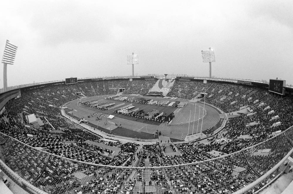 Official opening ceremony of the 22nd Summer Olympic Games at Lenin stadium in Moscow, July 18, 1980