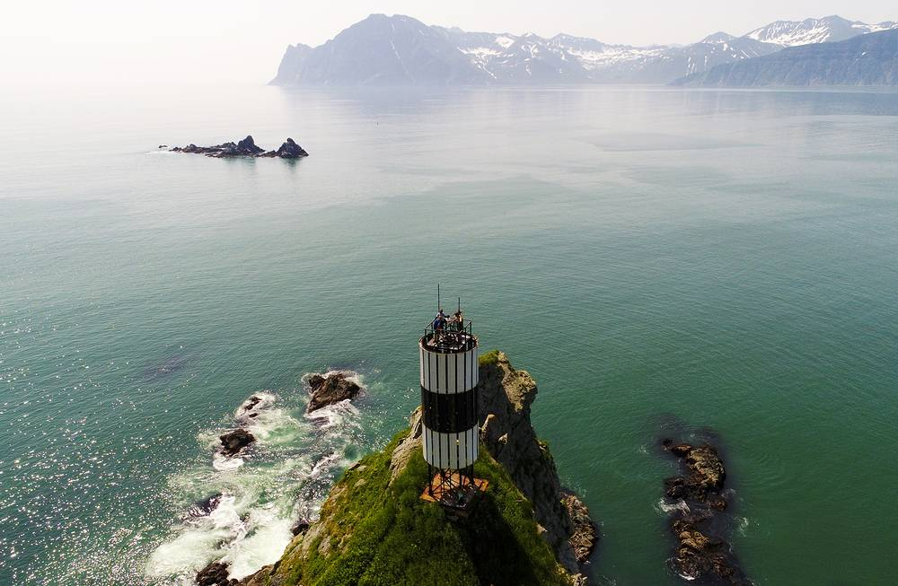 A lighthouse on Cape Green in Viluchinskaya bay on the southern coast of Kamchatka Peninsula