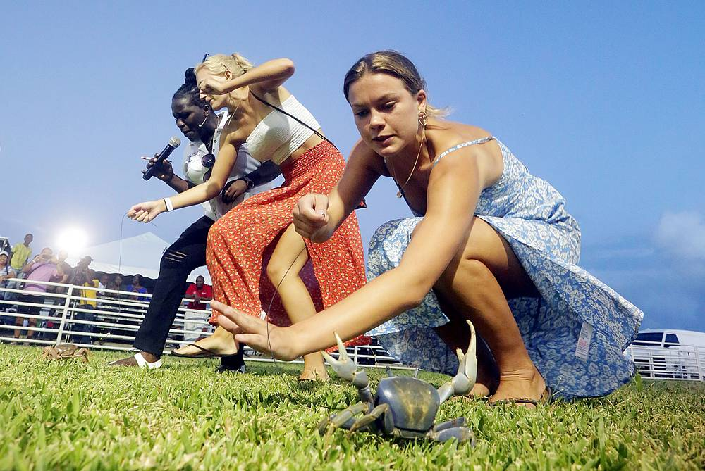 British tourist participates in a crab race at the annual Tobago Heritage Festival, at Buccoo Integrated Facility, Trinidad and Tobago, July 29