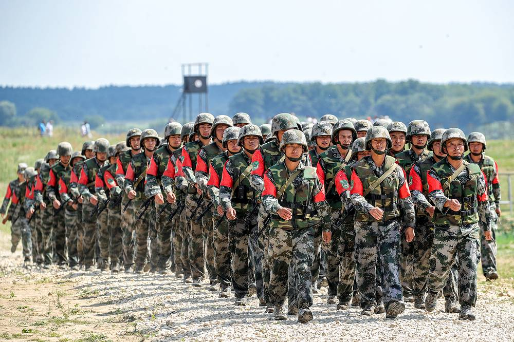 Chinese soldiers march in formation during the Open Water contest