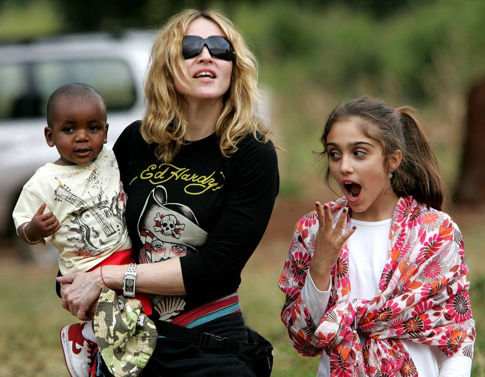 Madonna seen with her adopted son David Banda and daughter Lourdes, 2007