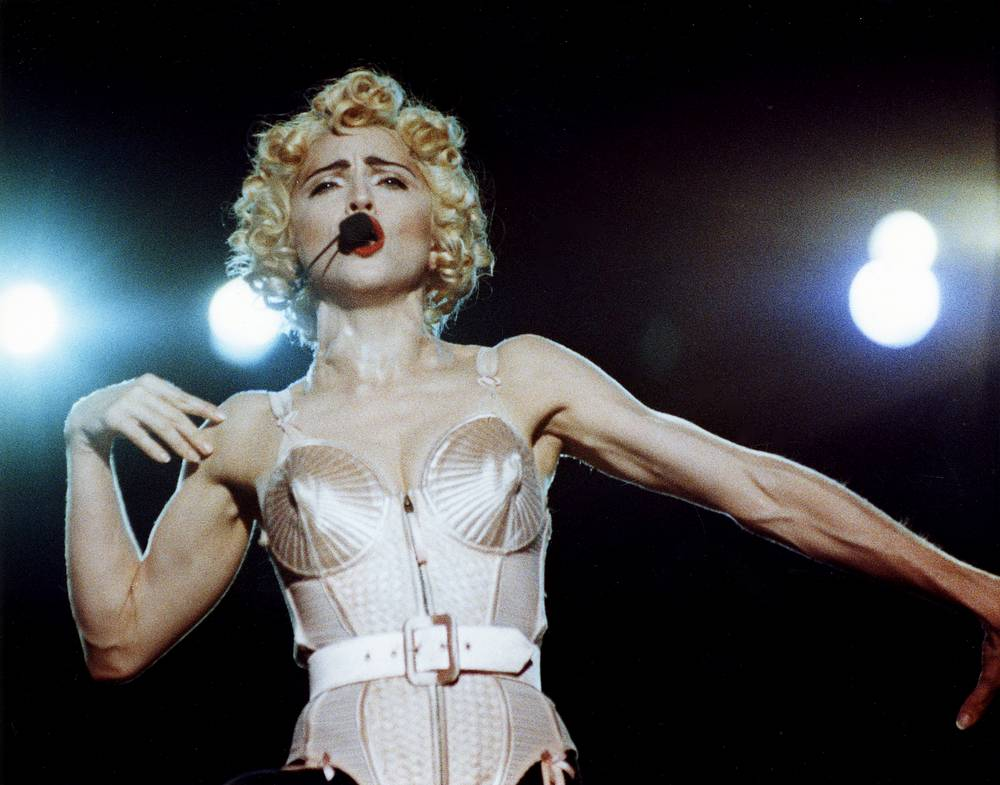 Madonna on stage during her concert in Rome, 1990