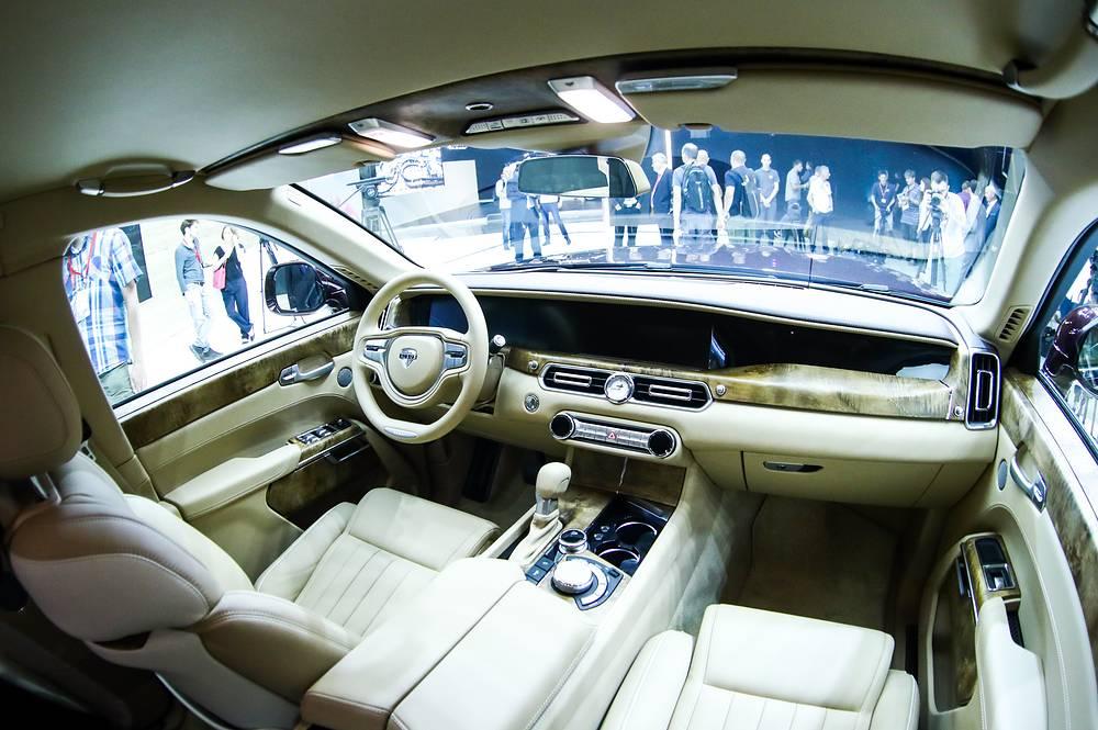 The plush interior of an Aurus Senat vehicle