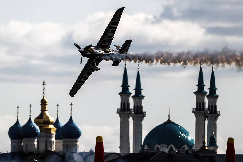 A plane performs at a qualifier event at the 2018 Red Bull Air Race World Championship in Kazan, August 25
