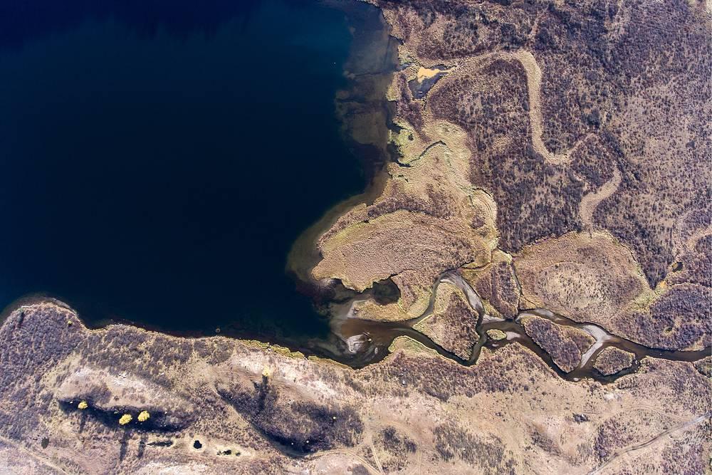 An aerial view of Lake Cheybek-Kohl in the Kibitka River head