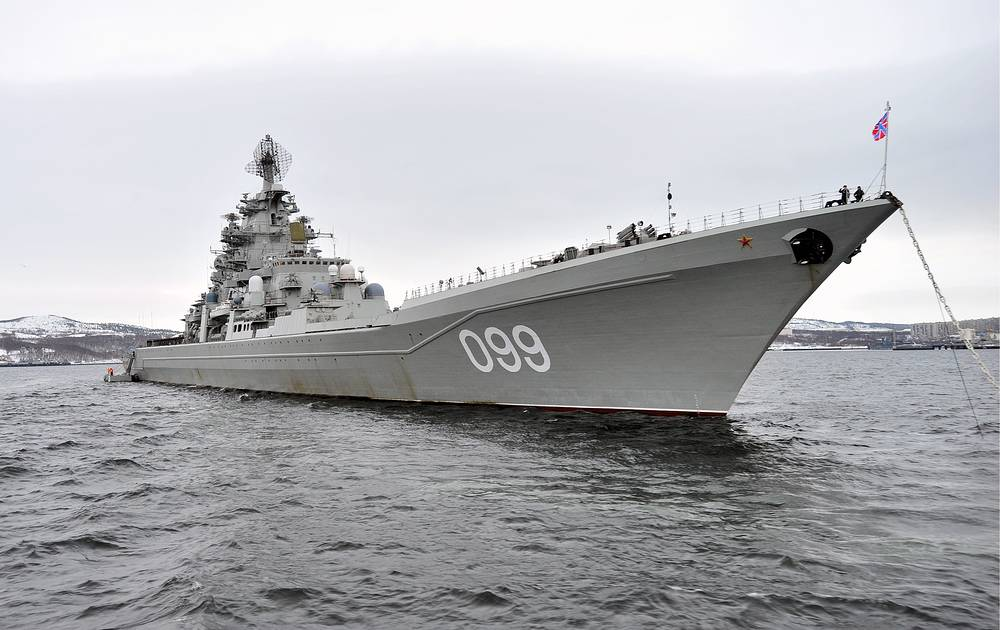 Flagship of Russia's Northern Fleet Kirov-class heavy missile cruiser Pyotr Velikiy