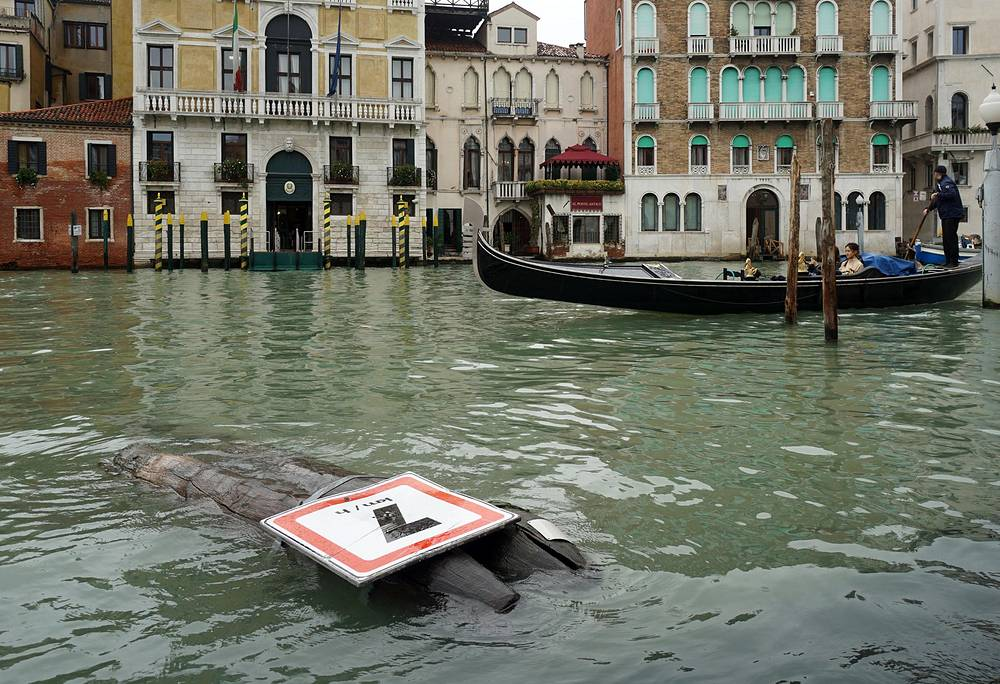 A bricola sign brought down by the storm in Venice