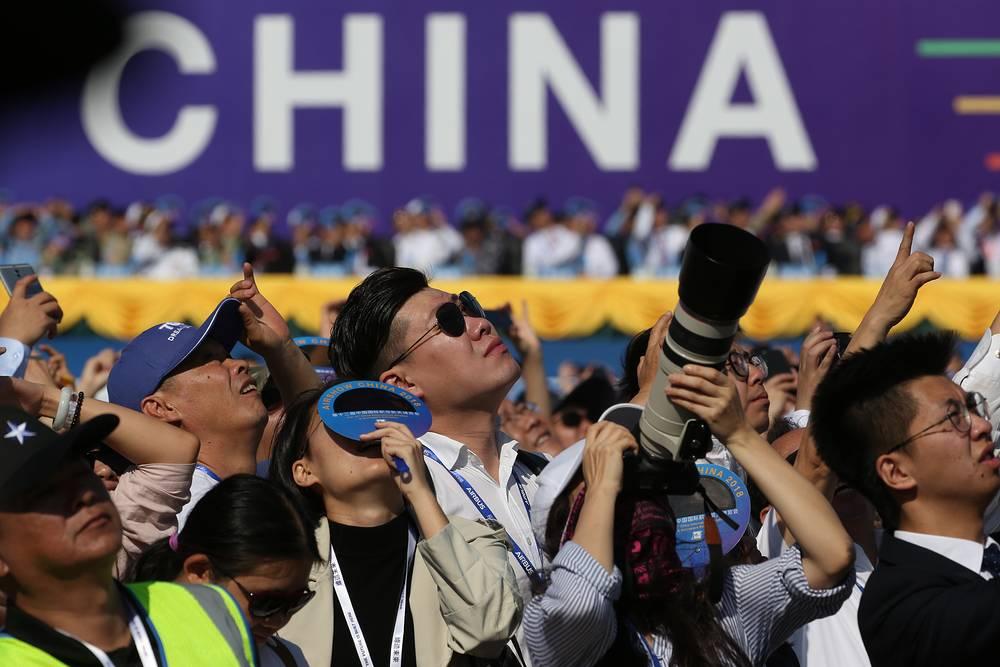 Visitors at the 12th China International Aviation and Aerospace Exhibition