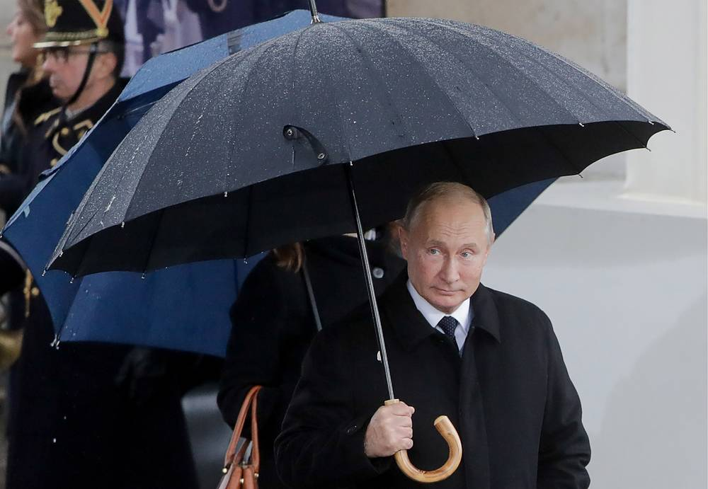 Russia's President Vladimir Putin ahead of a ceremony to celebrate the 100th anniversary of the end of the First World War at the Triumphal Arch on the Elysian Fields in Paris