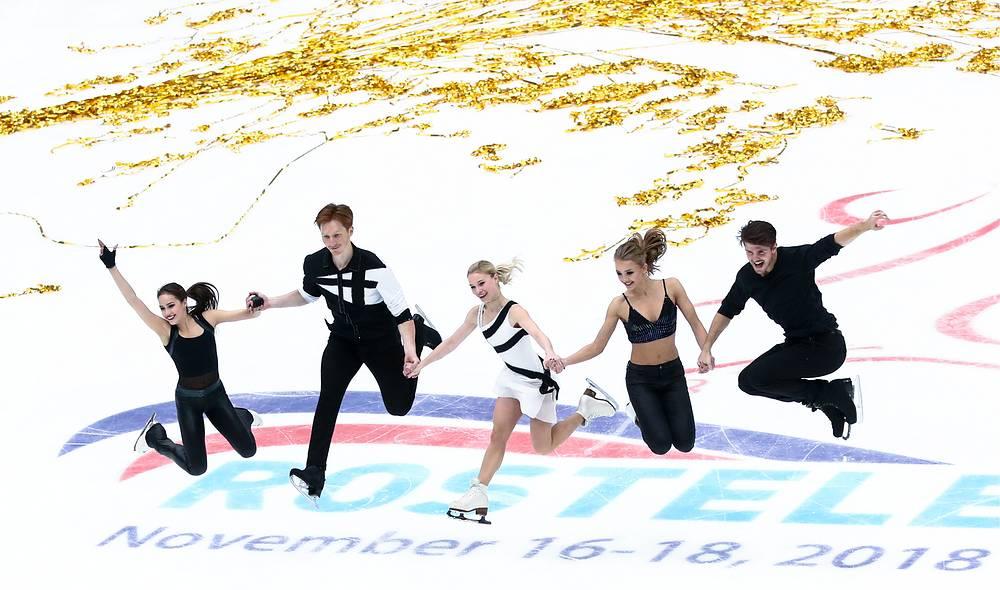 Russian gold medalists Alina Zagitova, Vladimir Morozov, Yevgenia Tarasova, Aleksandra Stepanova, and Ivan Bukin