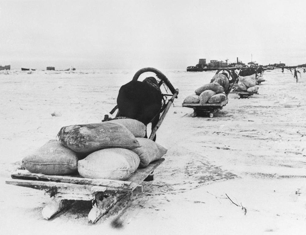 The Road of Life laid on the ice of lake Ladoga, 1943