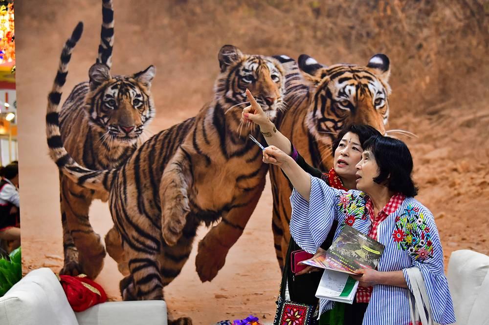 Women visit the International Travel Fair held at the TWTC Nangang Exhibition Hall in Taipei, November 24