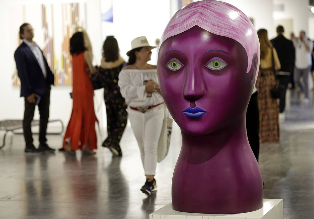 "A sculpture by artist Nicolas Party titled ""Head"""