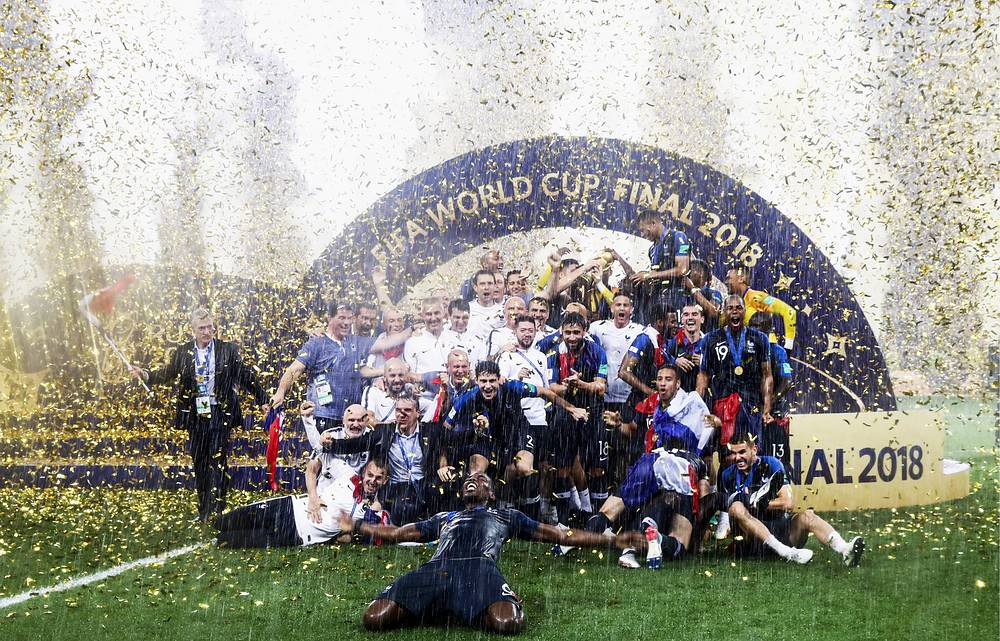 France's players, the winners of the 2018 FIFA World Cup, during an award ceremony after the 2018 FIFA World Cup Final match between France and Croatia at Luzhniki Stadium