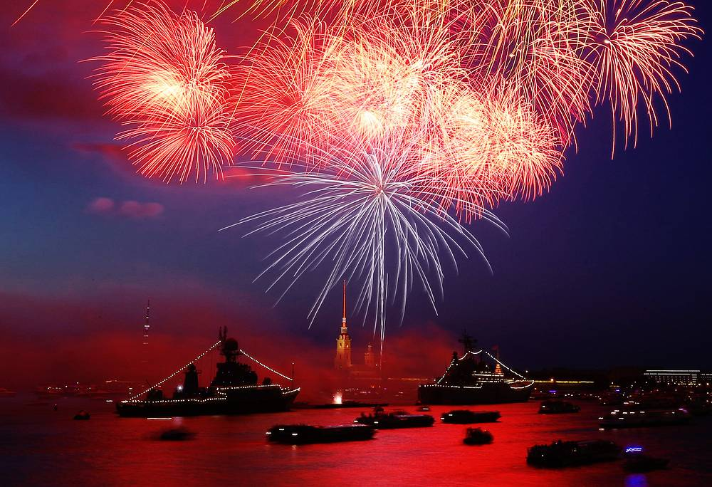 Fireworks over military ships on the Neva River in central St Petersburg on Russian Navy Day