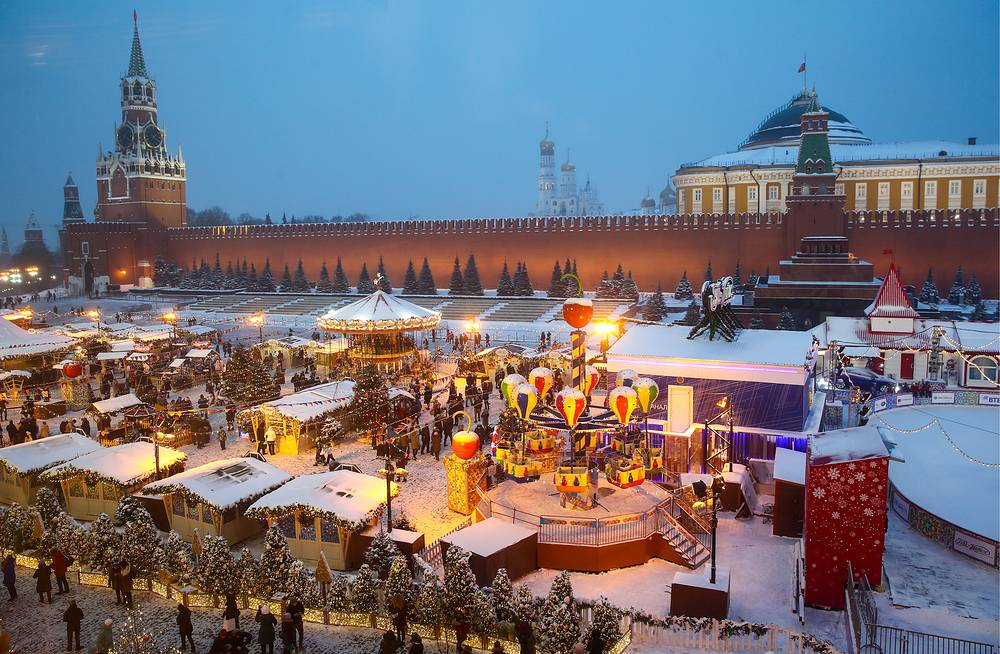 A view of a Christmas fair in front of the GUM department store in Moscow's Red Square, December 24