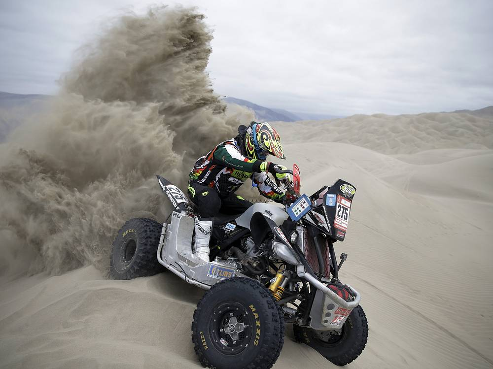 Ariel Mattarucco of Argentina rides his Yamaha quad during the stage six of the Dakar Rally between Arequipa and San Juan de Marcona, Peru