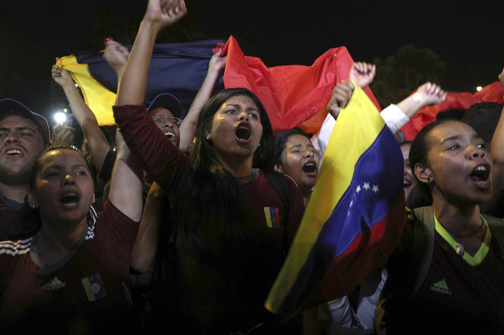 Venezuelans protest in support of Juan Guaido in Lima, Peru