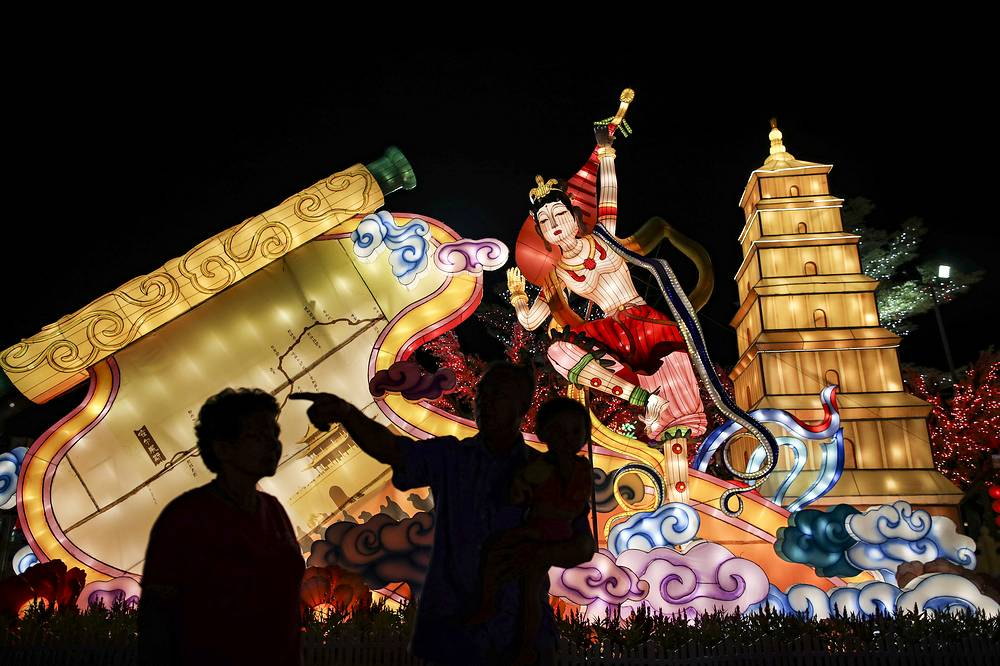 Colorful decorations are seen ahead of Chinese Lunar New Year celebrations at the Dong Zen temple in Jenjarom, Malaysia