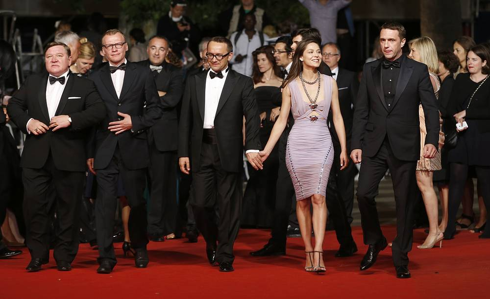 Russian actors Roman Madianov and Alexei Serebryakov, director Andrey Zvyagintsev, actress Elena Lyadova and actor Vladimir Vdovichenkov are seen attending the screening of 'Leviathan' at the 67th annual Cannes Film Festival, 2014