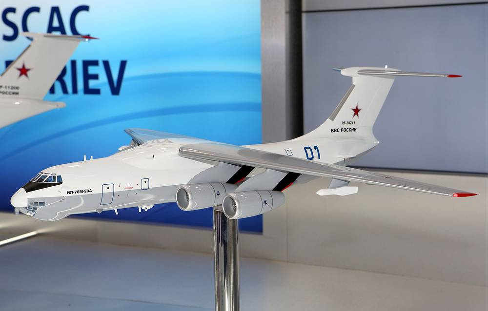 A model of the Ilyushin Il-78M-90A aerial refueling tanker
