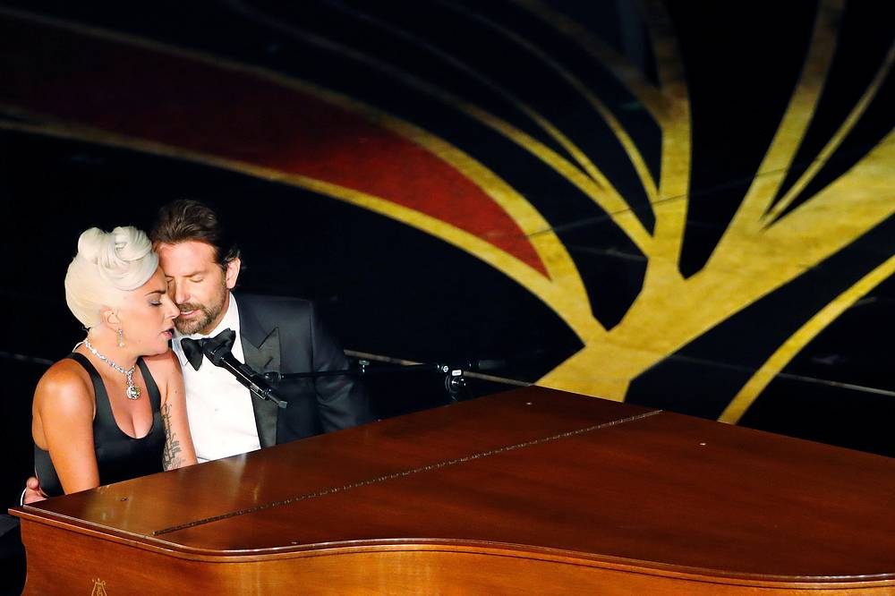 """Lady Gaga and Bradley Cooper perform """"Shallow"""" from """"A Star Is Born"""" at the 91st Academy Awards in Los Angeles, February 24"""