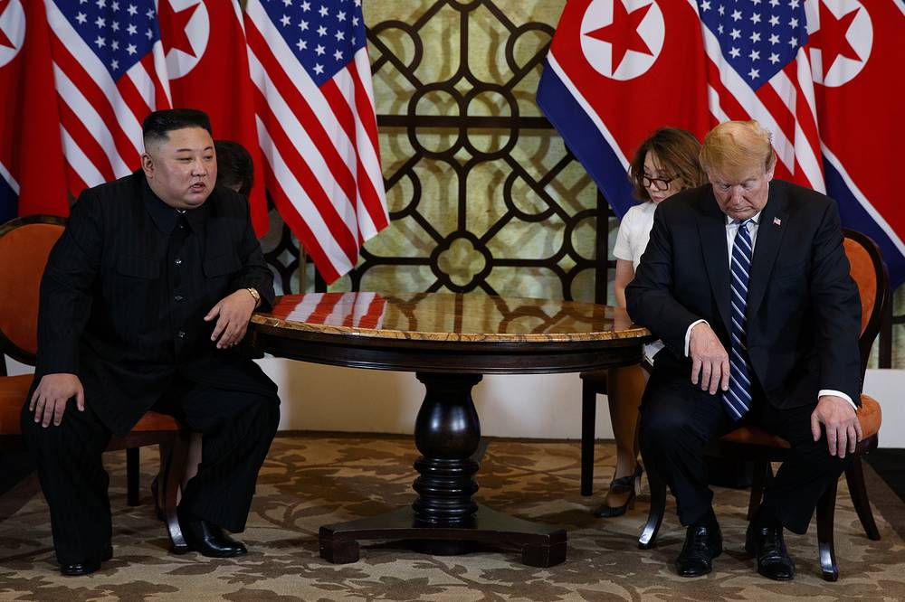 US President Donald Trump meets North Korean leader Kim Jong Un in Hanoi, February 28