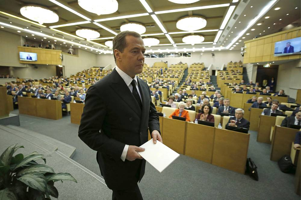 Russia's Prime Minister Dmitry Medvedev at a plenary meeting of the State Duma, the lower house of the Russian parliament, April 17