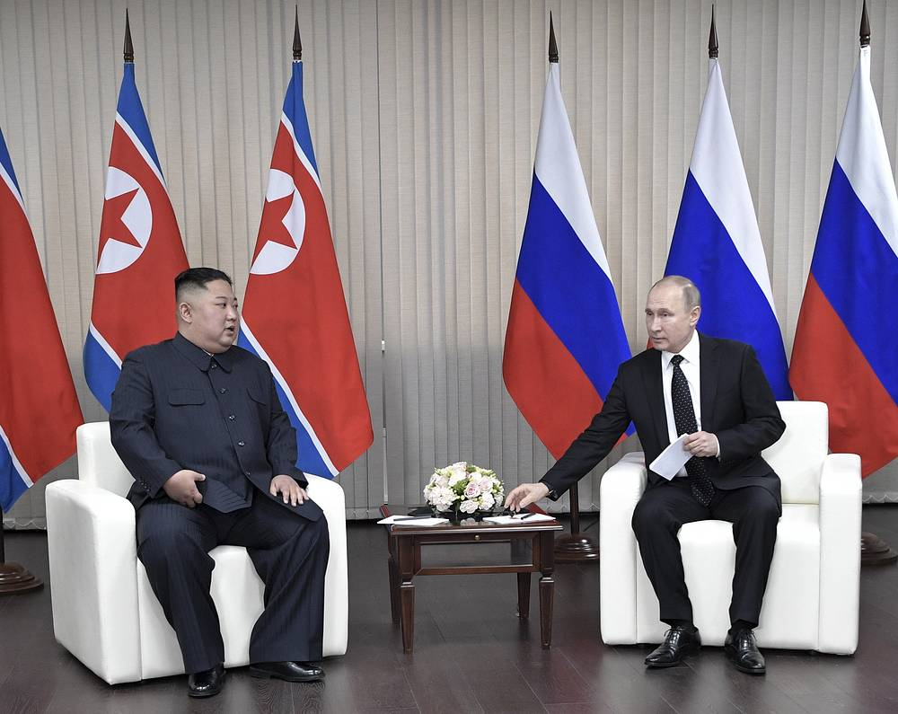 The leaders discussed peaceful resolution of the nuclear issue on the Korean Peninsula, ensuring security in Northeast Asia as a whole and the state of the bilateral relations