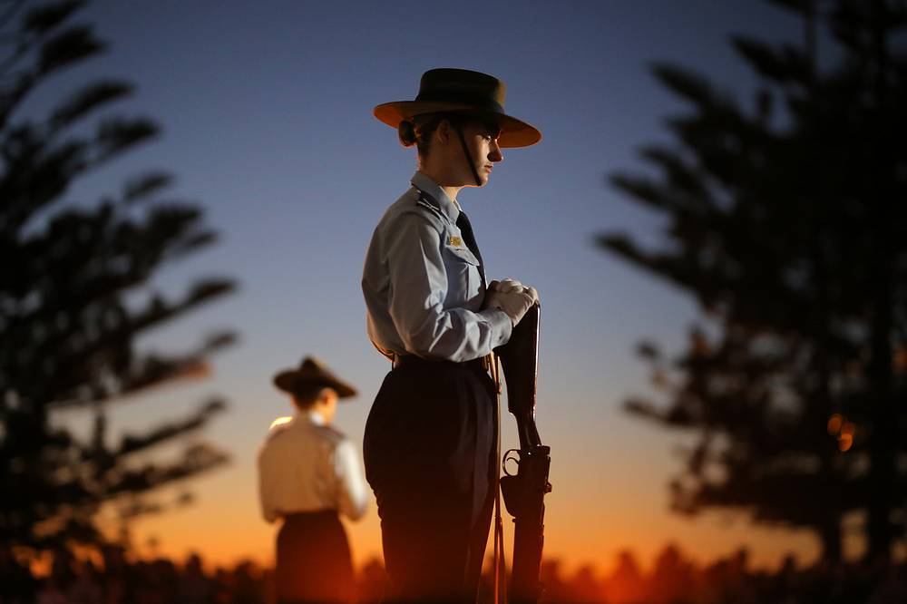 A member of the 324 Squadron stands during the ANZAC Day dawn service at Coogee Beach in Sydney, April 25. Anzac Day is a national day of remembrance across Australia and New Zealand, which commemorates the people who lost their lives or served in wars and conflicts