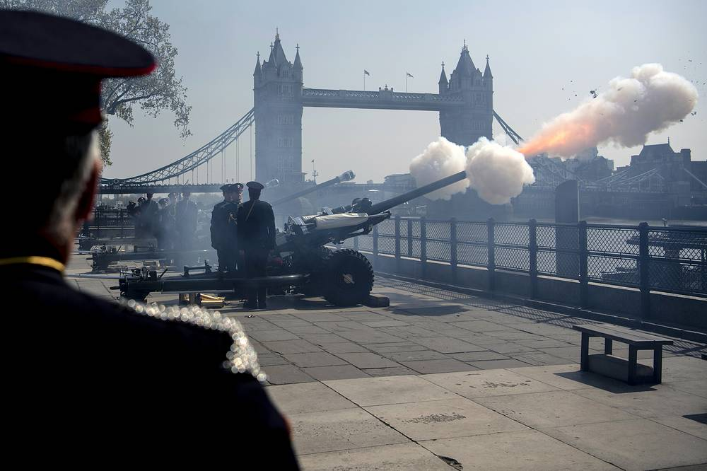 Members of the The Honourable Artillery Company firing a 62 Gun Royal Salute to mark the birthday of Britain's Queen Elizabeth II in London, April 22. The British monarch turned 93