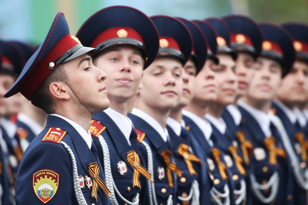Cadets of the Russian National Guard's Sholokhov Moscow Presidential Cadet Academy marching in Moscow's Red Square