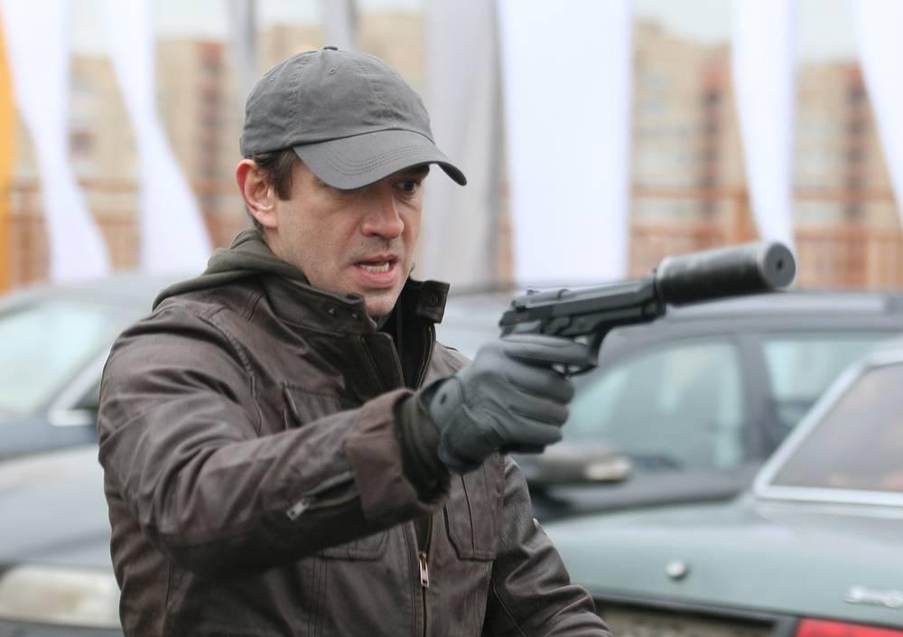 Владимир Машков (киллер Домовой) на съемках фильма режиссера Карена Оганесяна «Домовой». 2010 год