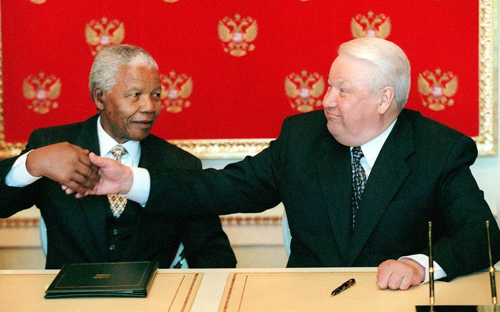 Встреча Нельсона Манделы и Бориса Ельцина в Москве, 1999 г.