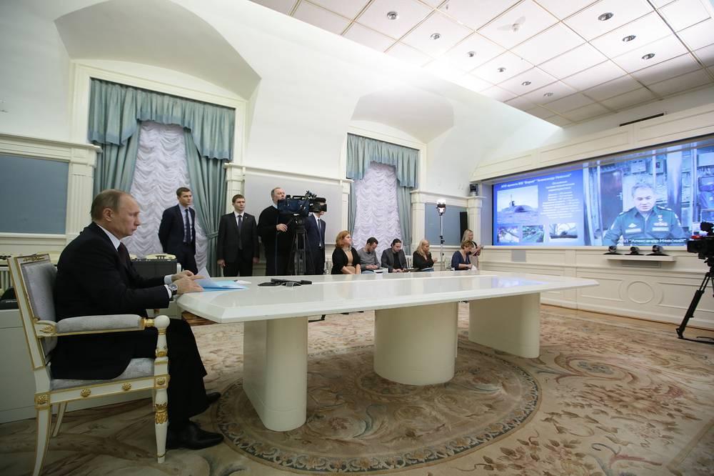 Президент России Владимир Путин во время видеоконференции