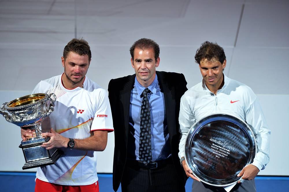 Станислас Вавринка и Рафаэль Надаль с легендарным теннисистом Питом Сампрасом