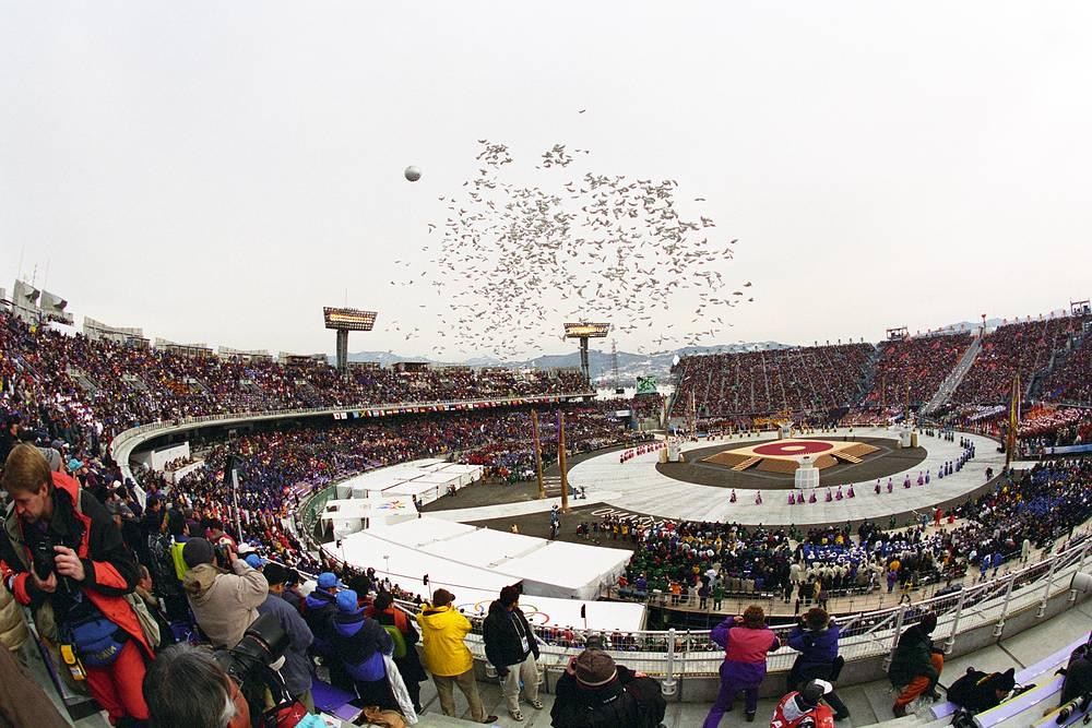 XVIII зимние Олимпийские игры в Нагано, Япония, 1998 год. Нагано стал самым близким к экватору городом, принимавшим Зимние игры, и остаётся им до сих пор