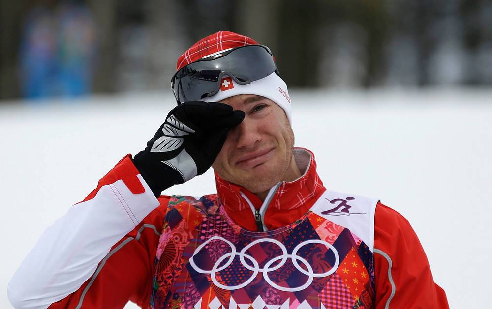 Дарио Колонья после финальных соревнований по скиатлону