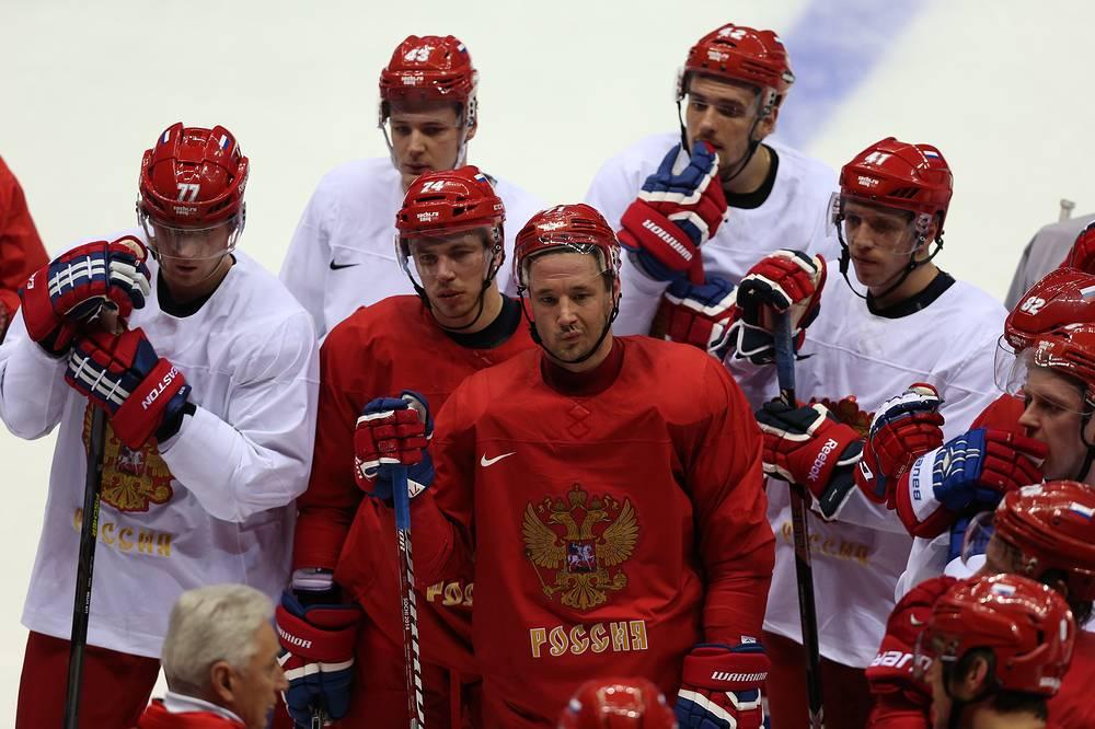 Тренировка сборной России по хоккею в полном составе