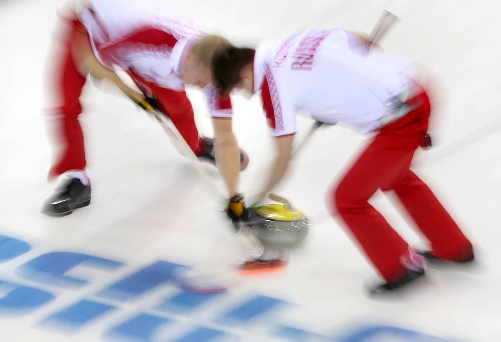 Игроки сборной России в матче кругового турнира между мужскими сборными Норвегии и России