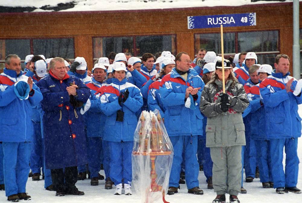 Российская сборная во время церемонии открытия Игр-1994 в Лиллехаммере