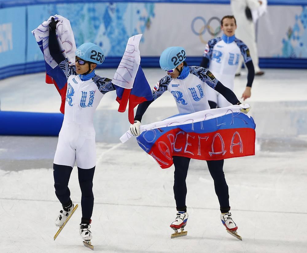 Мужская сборная России по шорт-треку завоевала золото на Олимпиаде в эстафете